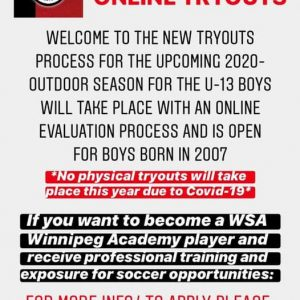 WSA WINNIPEG TRYOUT REGISTRATION!
